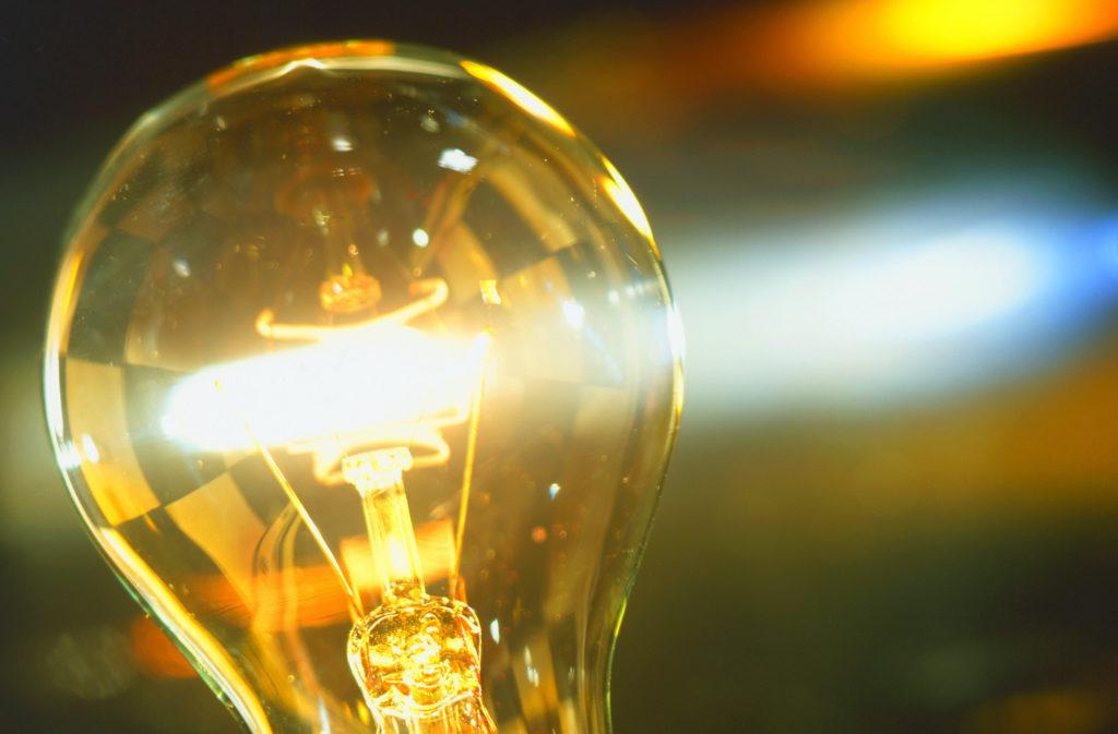 電球が光っている様子